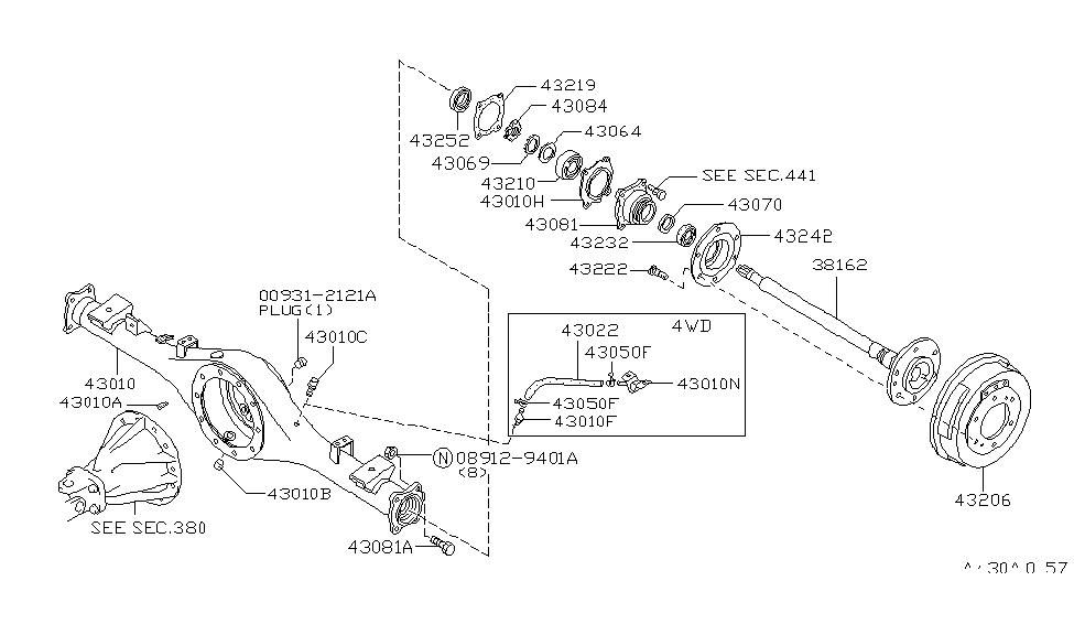 43010-21G10 | Genuine Nissan #43010-21G10 CASE ASSY-REAR AXLE