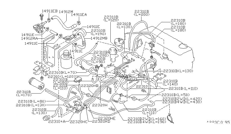 1997 nissan hardbody pickup 1995 1997 engine control vacuum piping rh nissanpartsdeal com KA24E Engine Harness Nissan 3.0 Engine Diagram