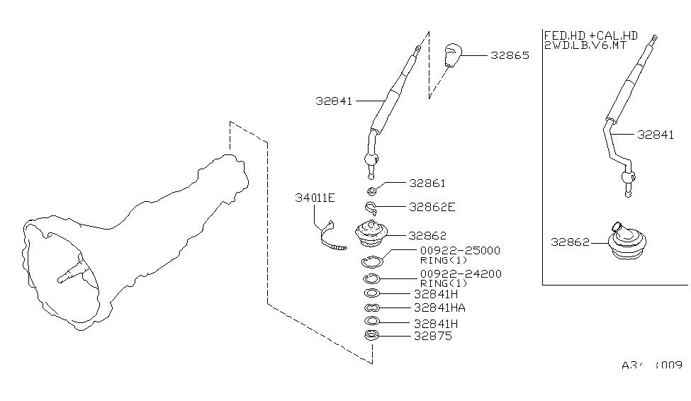 32861-8B000 | Genuine Nissan #328618B000 BUSH-CONTROL LEVER