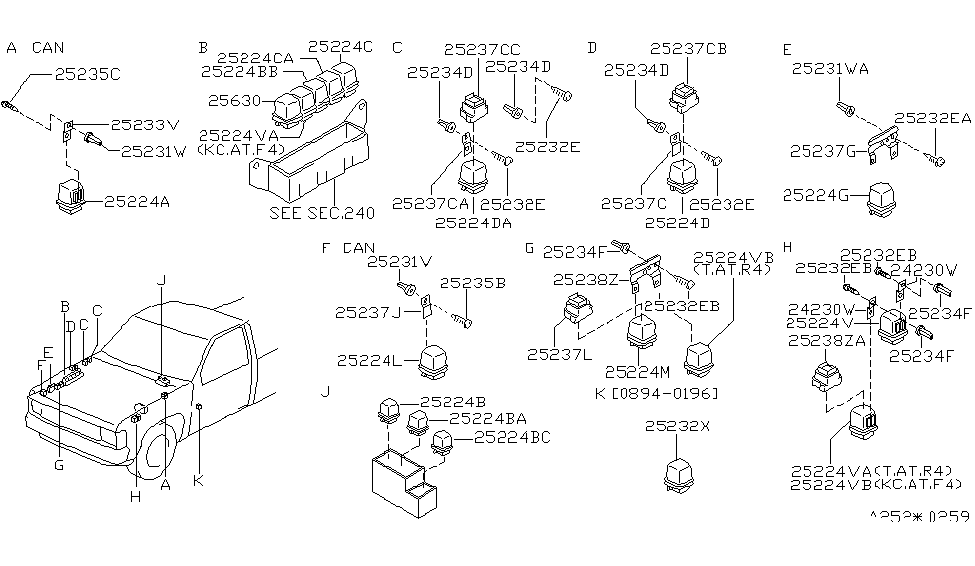 25230-79910 | genuine nissan #2523079910 relay nissan pickup parts diagram #15