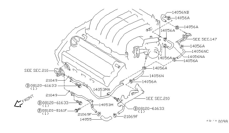 1996 Nissan Maxima Water Hose & Piping - Nissan Parts Deal