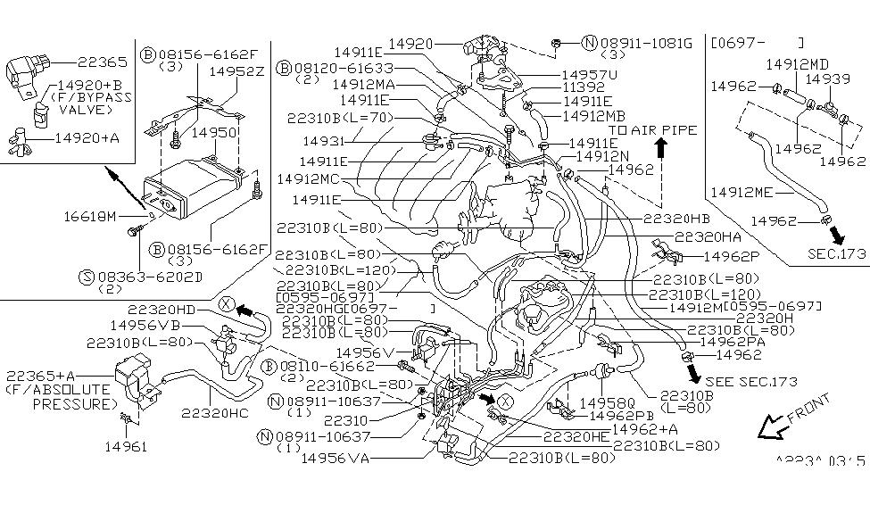 1999 nissan maxima engine control vacuum piping rh nissanpartsdeal com