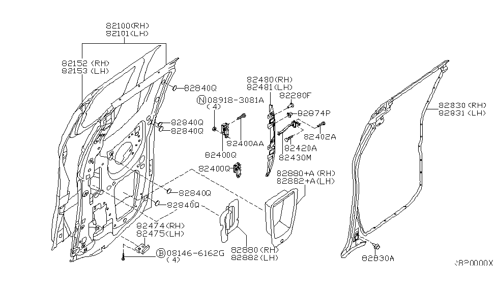 Genuine Nissan 82420-ZP80A Door Hinge Assembly