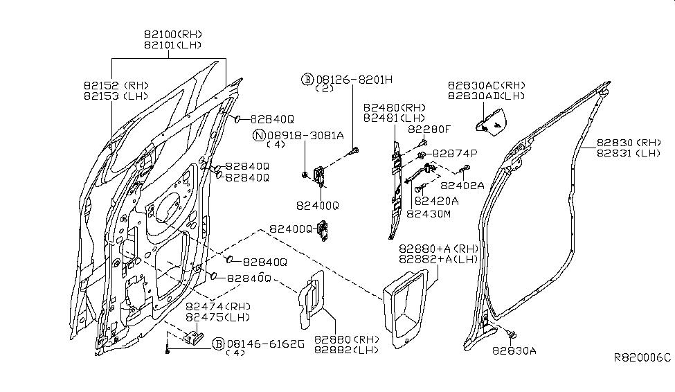 Genuine Nissan Upper Hinge 82401-ZP80A