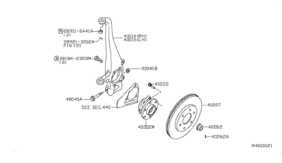 Genuine Nissan 40014-EA000 Spindle Knuckle