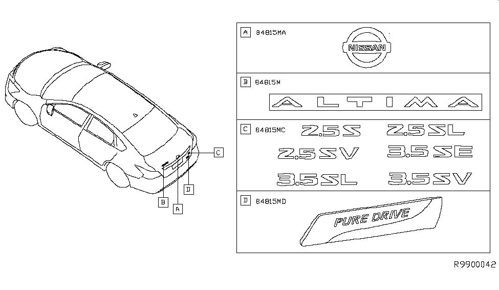 84895-3TA0A | Genuine Nissan #848953TA0A EMBLEM-TRUNK LID