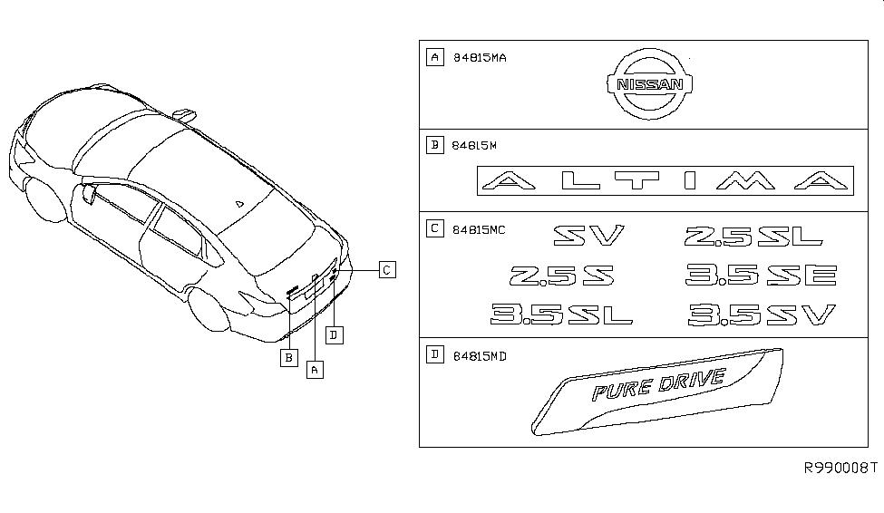 2013 Nissan Altima Sedan Emblem & Name Label - Nissan Parts Deal