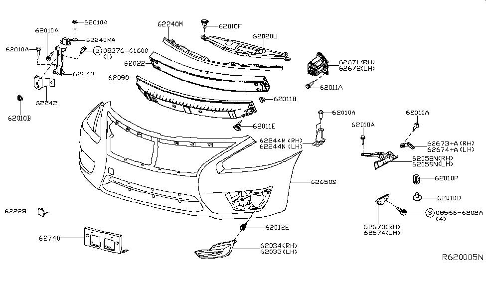 62224 jg000 genuine nissan parts2015 nissan altima sedan front bumper