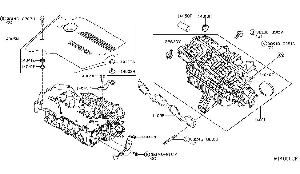 14001-3TA1B | Genuine Nissan #140013TA1B MANIFOLD ASSY-INTAKE