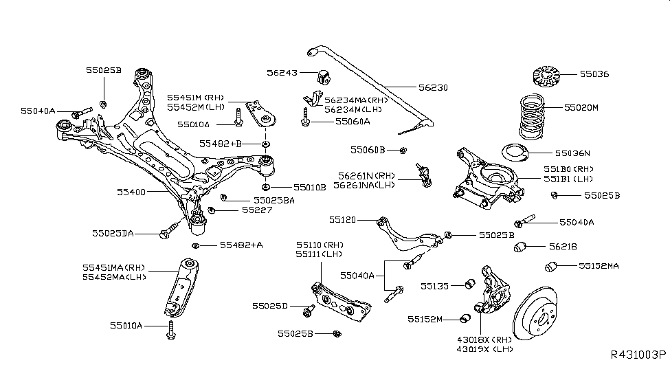 551b0 3ta0a genuine nissan parts2015 nissan altima sedan rear suspension