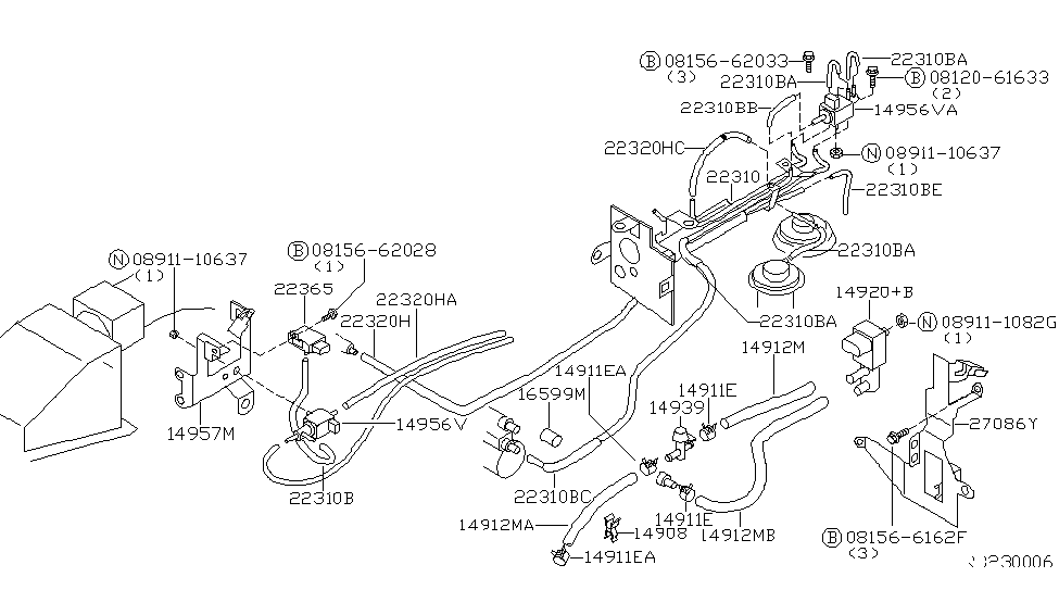 1998 nissan altima engine control vacuum piping - thumbnail 1