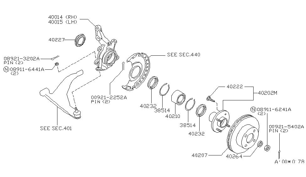 40210 0z800 genuine nissan 402100z800 bearing wheel front2000 nissan altima front axle