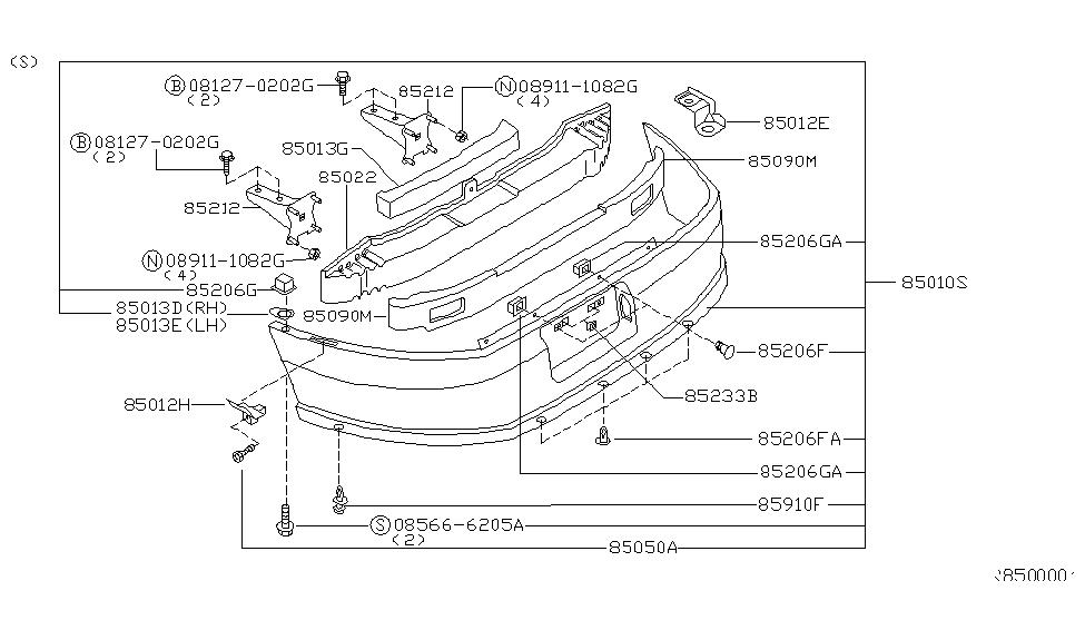 Genuine Nissan Parts 85090-9E000 Rear Bumper Energy Absorber