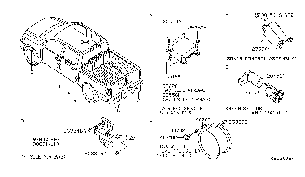 28556-ZJ09A | Genuine Nissan #28556ZJ09A SENSOR & UNIT-AIR BAG