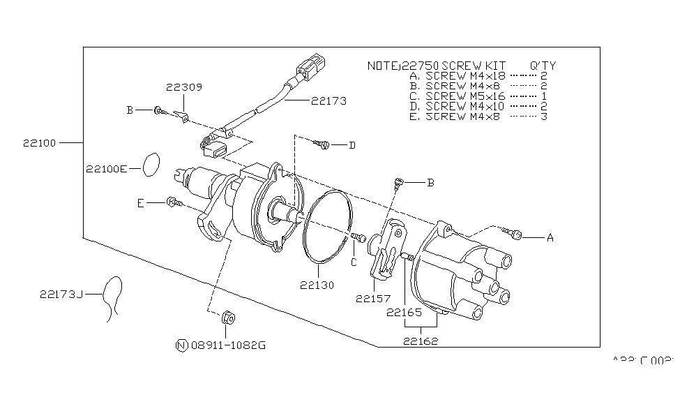 1987 Nissan Sentra Distributor & Ignition Timing Sensor on