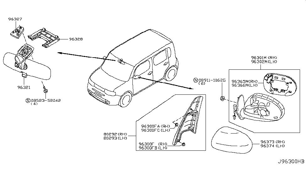2010 nissan cube rear view mirror nissan parts deal rh nissanpartsdeal com Nissan Pickup Truck Wiring Diagrams Electric Nissan Versa Rear Suspension Diagram
