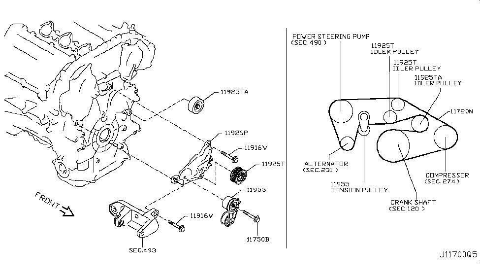 11720-EY00A | Genuine Nissan #11720EY00A BELT-FAN & ALTERNATOR