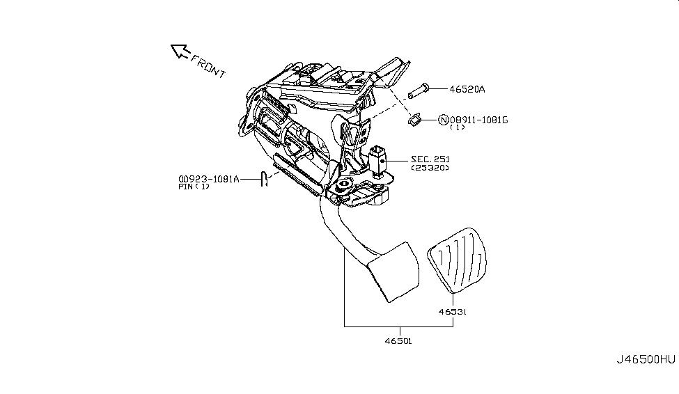 2018 Nissan 370Z Brake & Clutch Pedal - Nissan Parts Deal