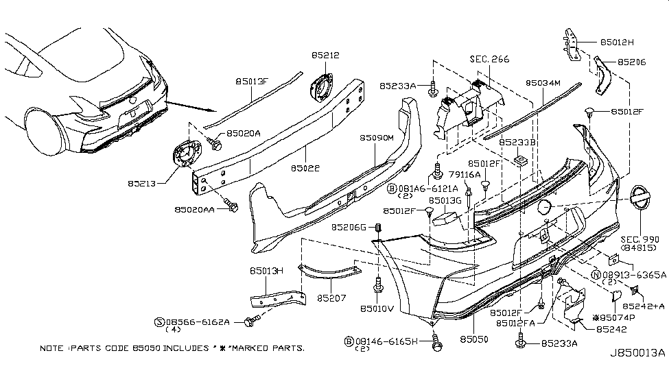 HEM226GA0H   Genuine Nissan  HEM226GA0H FASCIAREAR BUMPER