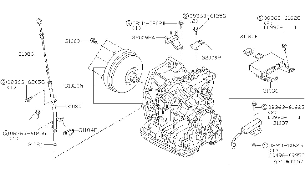 31036-0B000 | Genuine Nissan #31036-0B000 CONTROL UNIT-SHIFT