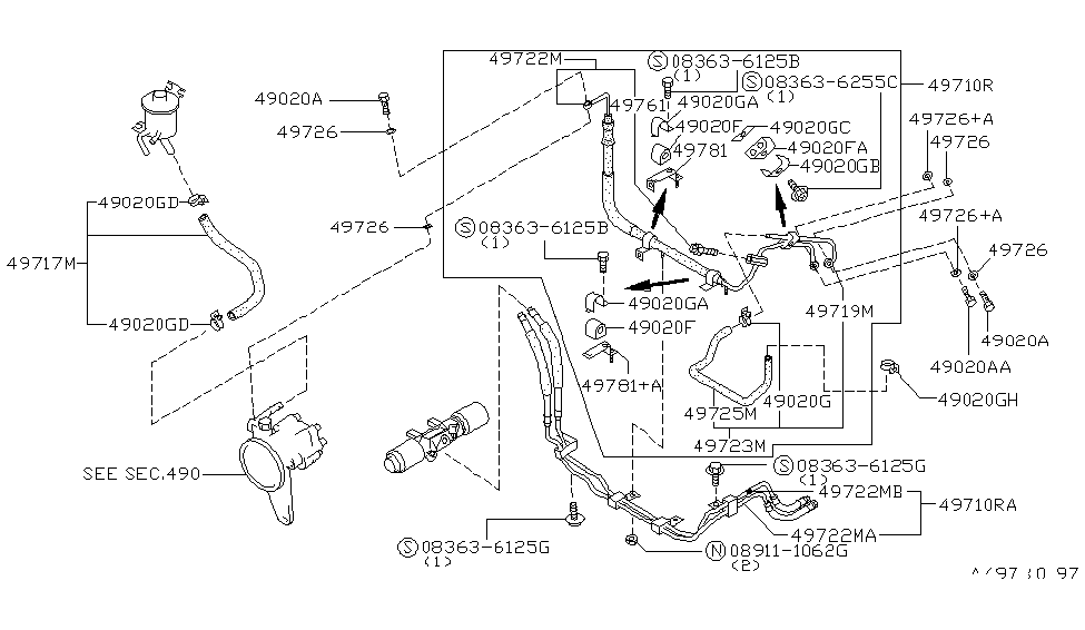 1990 nissan 300zx power steering piping