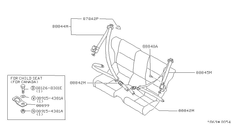 1994 nissan 300zx rear seat belt