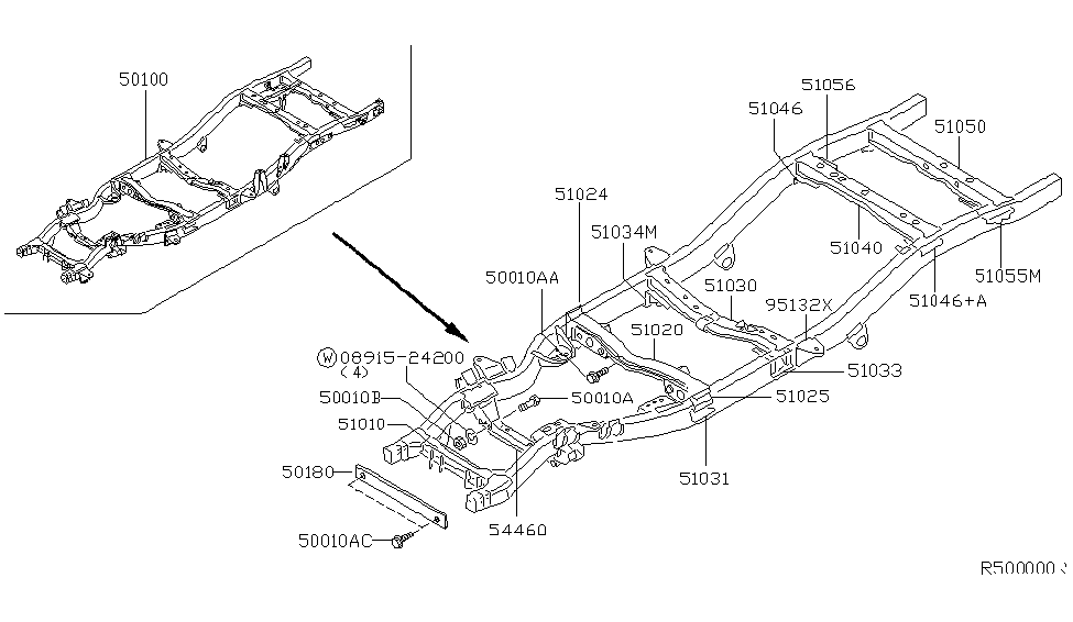 51050-7Z000 | Genuine Nissan #510507Z000 MEMBER ASSY CROSS, 5TH