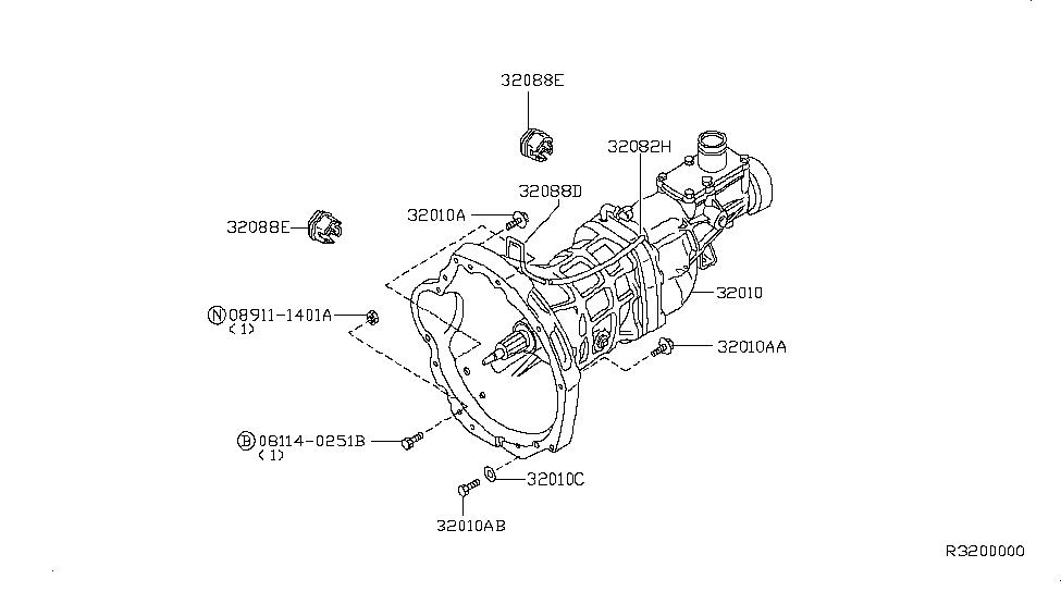 2002 nissan xterra manual transmission, transaxle & fitting  2002 nissan xterra parts diagram #11