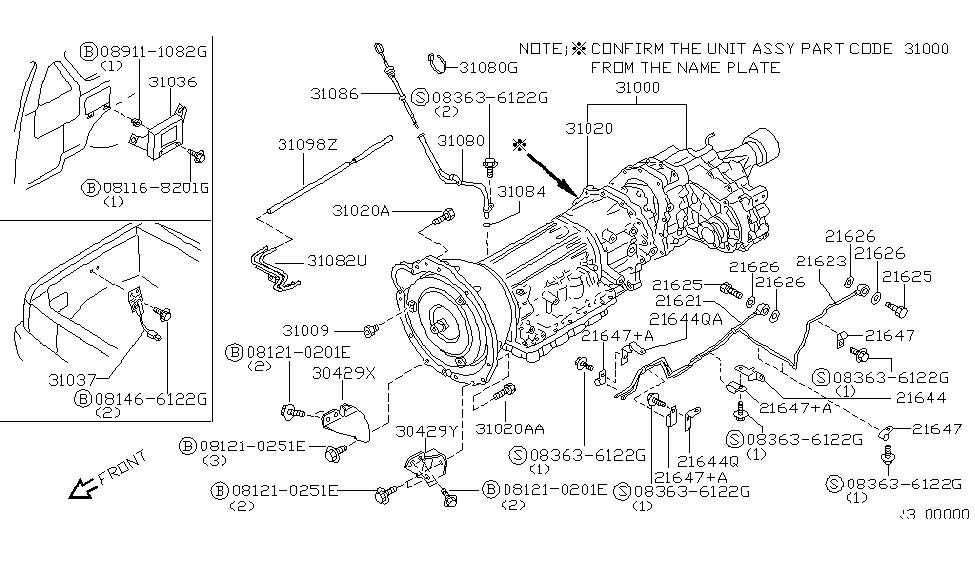 2001 Nissan Xterra Auto Transmission,Transaxle & Fitting
