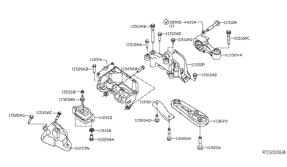 2014 Nissan Sentra Engine  U0026 Transmission Mounting