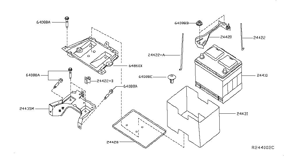 24431-3ja0a | genuine nissan #244313ja0a cover-battery nissan sentra parts diagram