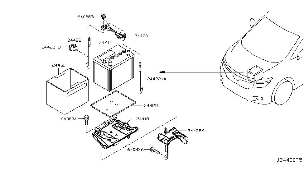 nissan battery diagram 24410-1ma1a | genuine nissan #244101ma1a battery series battery diagram