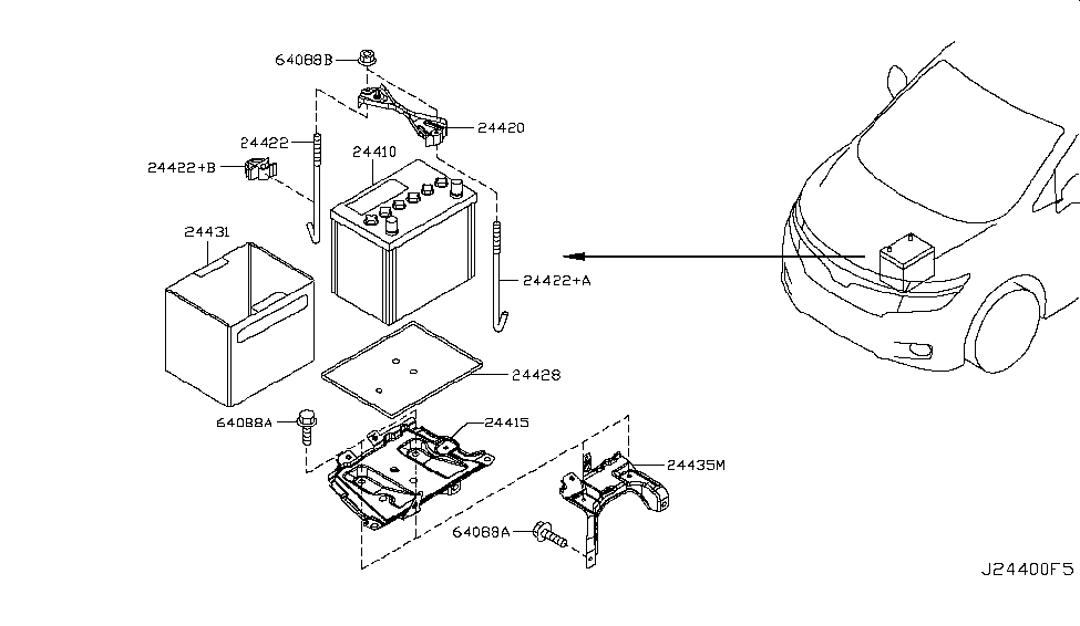 series battery diagram 24410-1ma1a | genuine nissan #244101ma1a battery nissan battery diagram