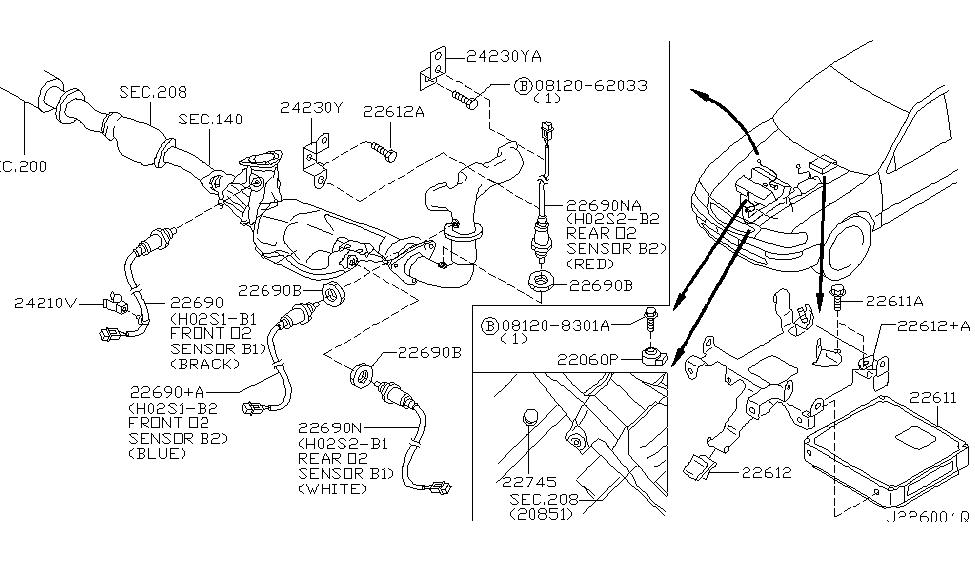 2002 Nissan Maxima Motor Diagram : 22690 2y920 genuine nissan 226902y920 heated oxygen sensor ~ A.2002-acura-tl-radio.info Haus und Dekorationen