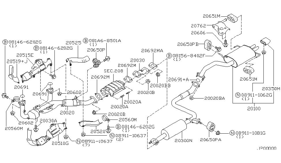 2001 nissan maxima exhaust tube & muffler