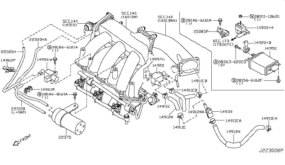 2001 nissan maxima engine control vacuum piping rh nissanpartsdeal com Nissan Maxima Parts Diagram 2000 Nissan Maxima Engine Diagram