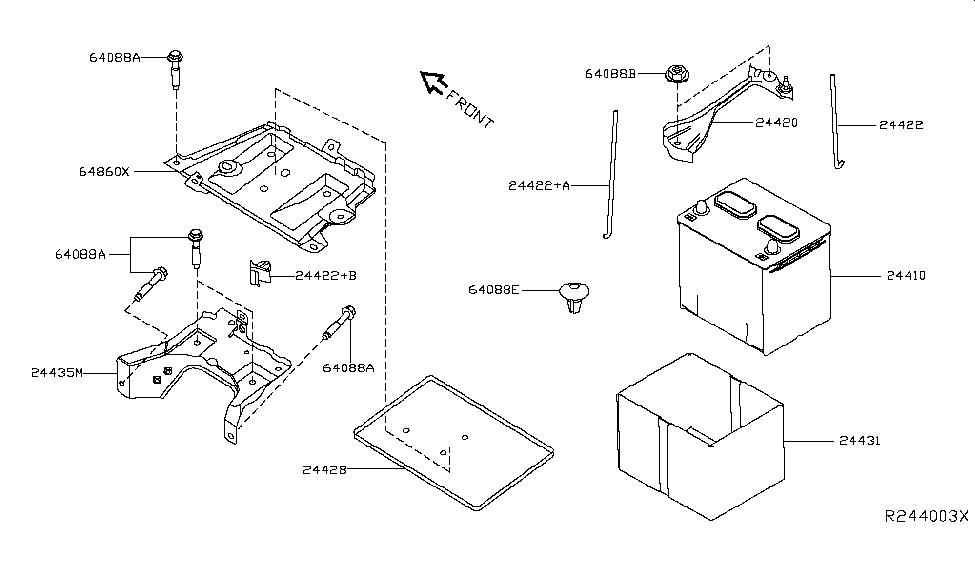24431-3ja0b | genuine nissan #244313ja0b cover-battery nissan parts diagram battery 2005 nissan murano engine diagram battery