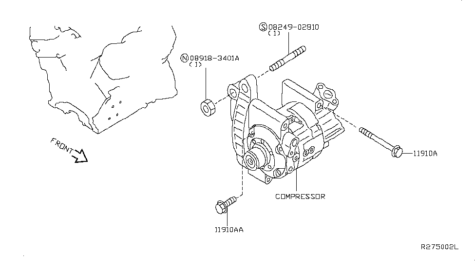 2009 nissan maxima compressor mounting  u0026 fitting