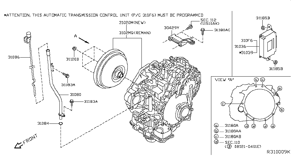 2014 Nissan Altima Transmission Dipstick