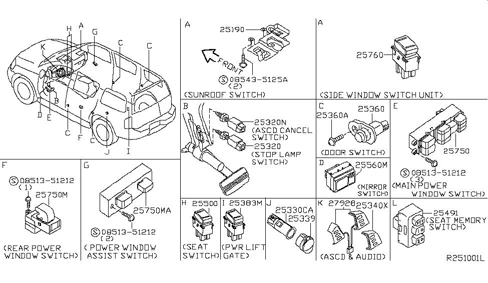 255528S210   Genuine    Nissan     255528S210 SWITCH ASSYRADIO