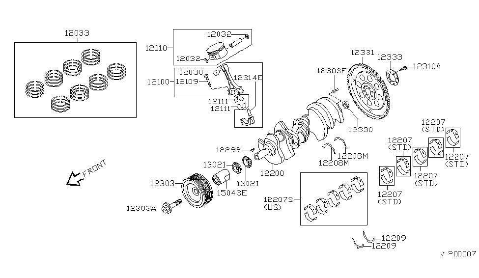 2015 Nissan Armada Piston,Crankshaft & Flywheel