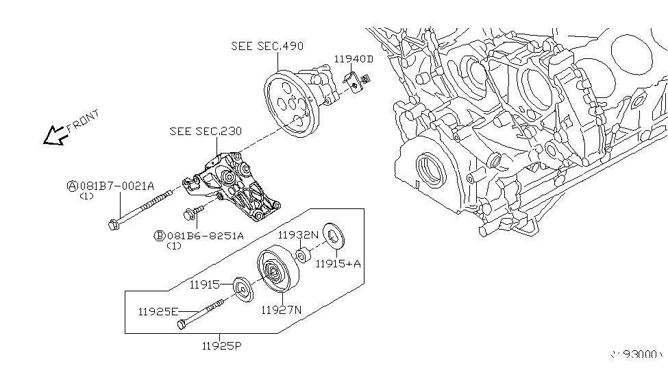 2004 Nissan Armada Power Steering Pump Mounting