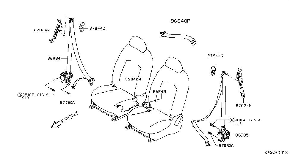 2019 Nissan Versa Note Front Seat Belt - Nissan Parts Deal
