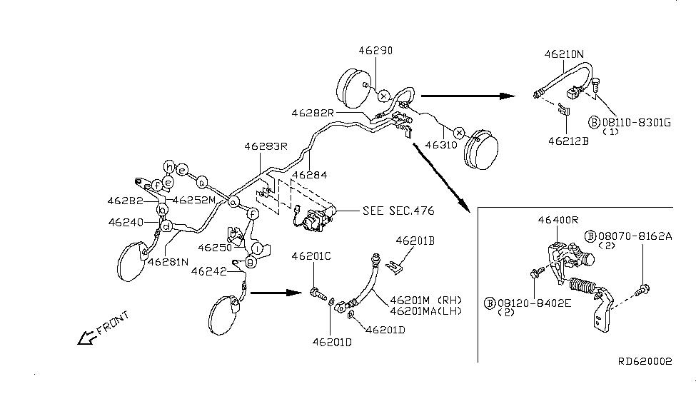 2004 nissan frontier engine diagram 46210 1z600 genuine nissan 462101z600 hose assy brake  genuine nissan 462101z600 hose assy brake