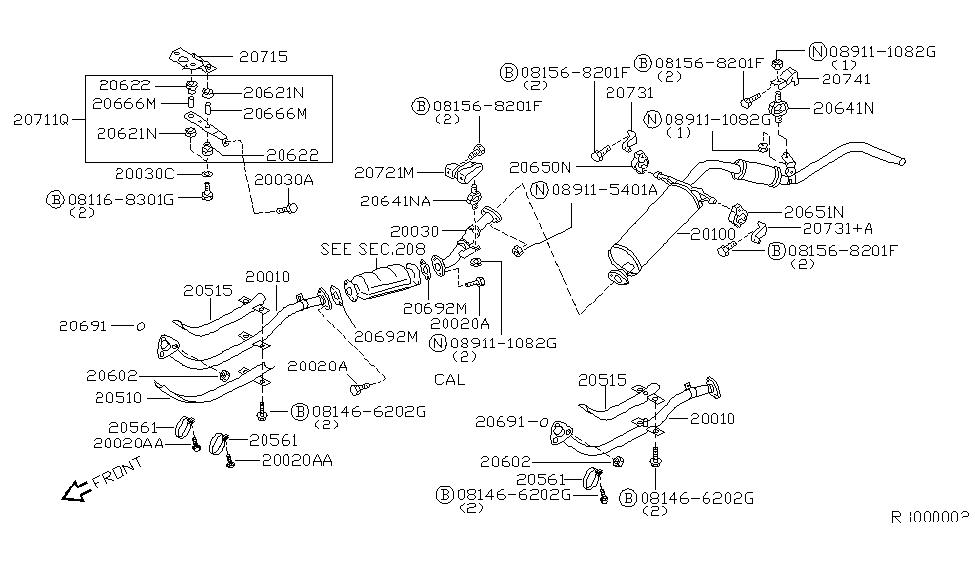 2001 Nissan Frontier Exhaust Tube Muffler Nissan Parts Deal