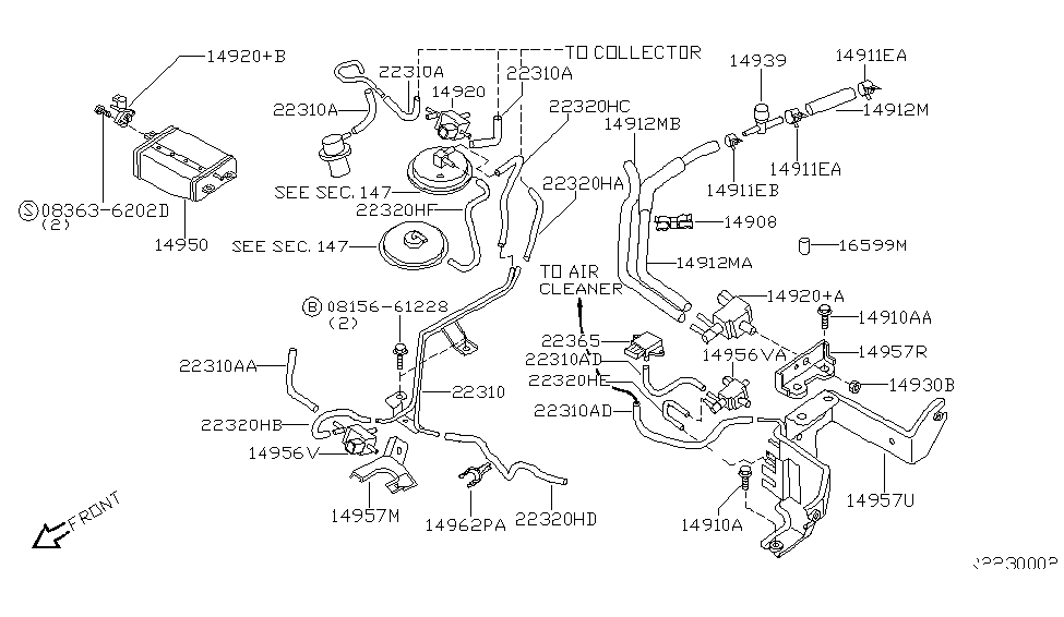 2000 nissan frontier engine control vacuum piping rh nissanpartsdeal com 2003 nissan frontier vacuum diagram 2006 nissan frontier vacuum diagram