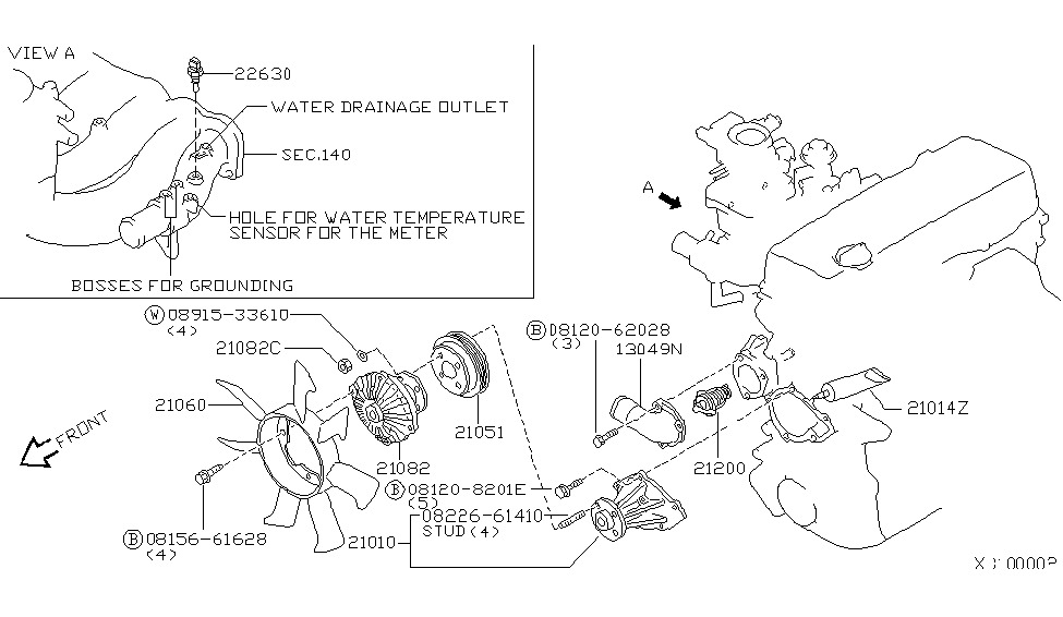 2002 nissan frontier thermostat location