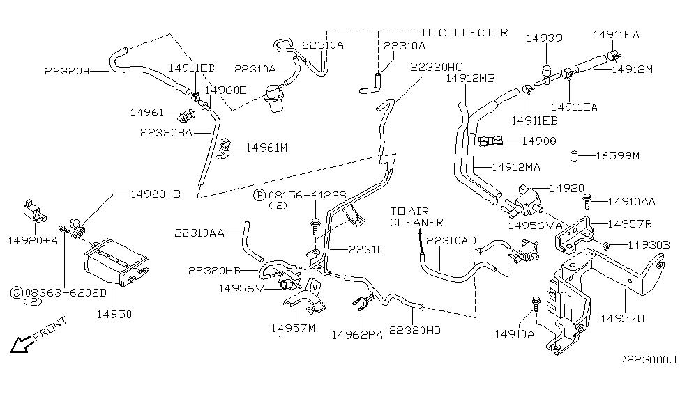 2000 nissan frontier engine control vacuum piping rh nissanpartsdeal com nissan frontier vacuum hose diagram nissan xterra vacuum lines