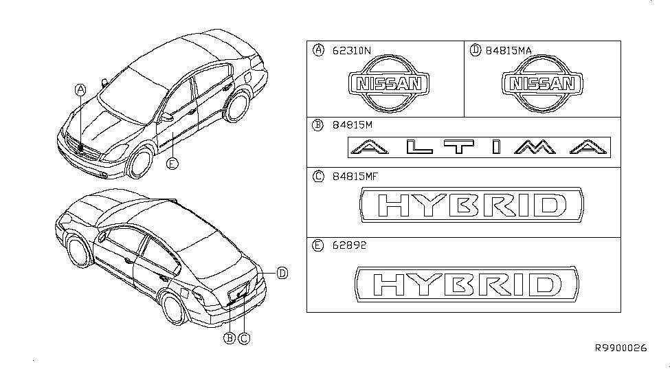 2011 Nissan Altima Hybrid Emblem & Name Label - Nissan Parts