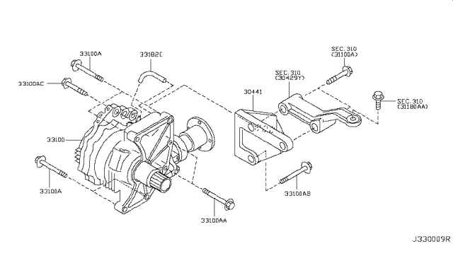 2013 Nissan Murano Transfer Assembly & Fitting Diagram